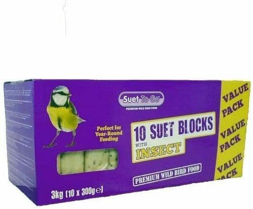 Wild Bird Food Suet Blocks 10 Pack with Insects 300g for Bird Feeders